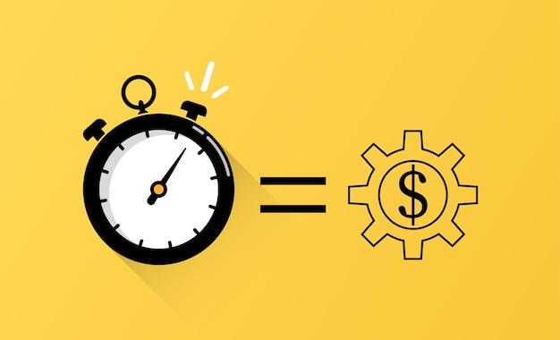 Tempo é o conceito de dinheiro com vetor de símbolo de relógio
