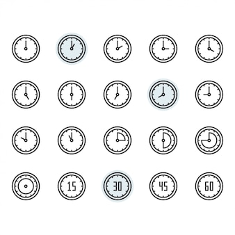 Tempo e relógio ícone e símbolo definido no contorno