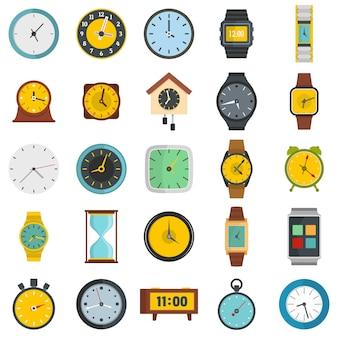 Tempo, e, relógio, ícones, jogo