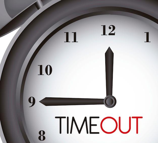 Tempo fora com relógio despertador close-up ilustração vetorial