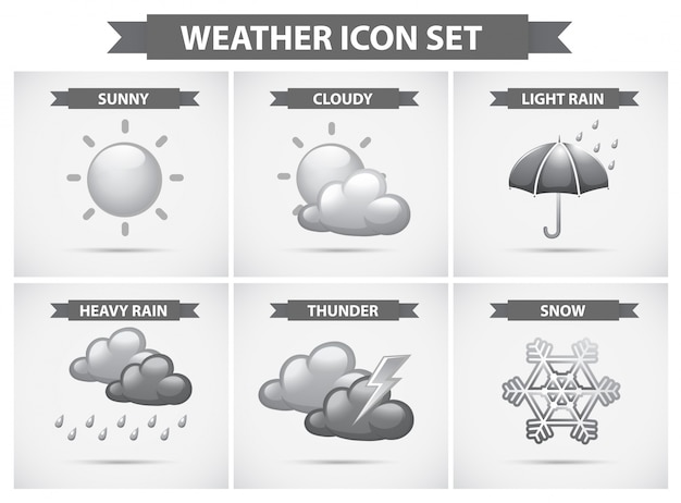 Tempo, ícone, diferente, tipos, weathers, ilustração