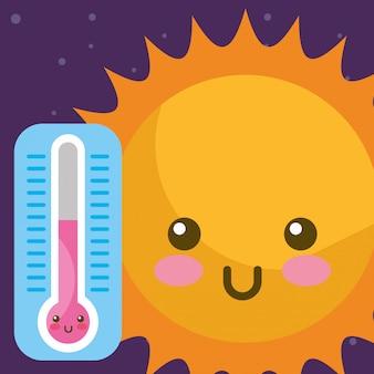 Tempo kawaii sol e termômetro quente