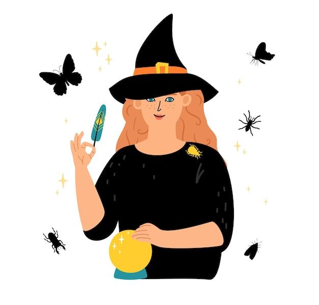 Tempo mágico. personagem de bruxa, elementos ocultos mágicos. ilustração em vetor silhuetas de insetos, borboleta e abelha