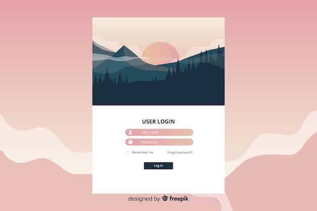 Tempo na página de destino com paisagem de design plano