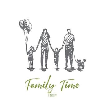Tempo para a família, mãe, filhos, feliz, conceito de pai. família feliz desenhada de mão caminhando fora do esboço do conceito.