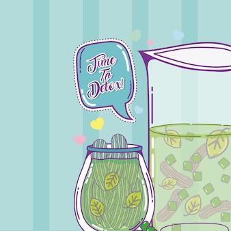 Tempo para desintoxicar o suco com folhas e pepinos