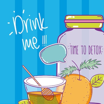 Tempo para desintoxicar suco com laranja e mel mason jar