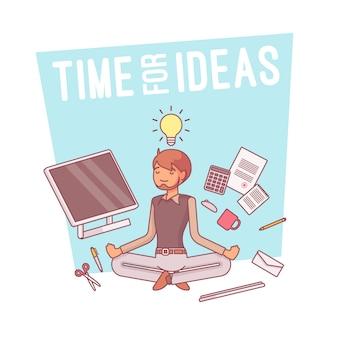 Tempo para idéias, linha arte ilustração