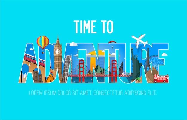 Tempo para o banner de inscrição de aventura com monumentos famosos. Vetor Premium