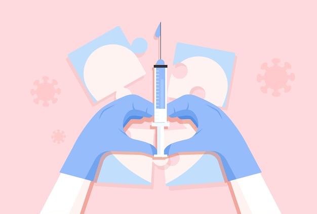 Tempo para o conceito de vacinação contra o coronavírus. os médicos prestam serviços com o coração.