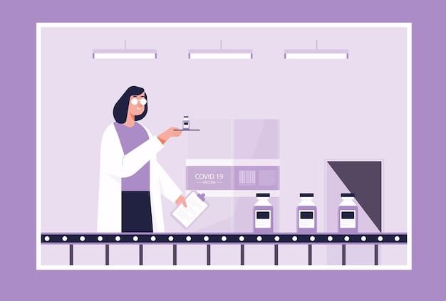 Tempo para o conceito de vacinação contra o coronavírus. pesquisadores bioquímicos estão testando uma vacina contra o coronavírus