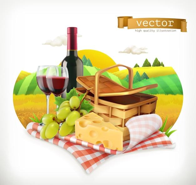 Tempo para um piquenique, natureza, recreação ao ar livre, uma toalha de mesa e uma cesta de piquenique, taças de vinho, queijo e uvas, ilustração
