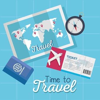 Tempo para viajar bilhete mapa passaporte e design de bússola, turismo de viagem e tema de viagem