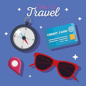 Tempo para viajar design de bússola e cartão de crédito, turismo de viagem e tema de viagem