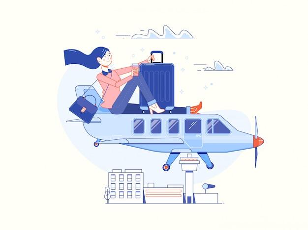 Tempo para viajar e cartaz de férias de verão