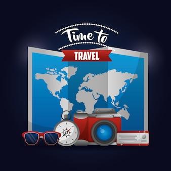 Tempo para viajar mapa rota óculos bússola