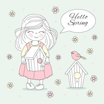 Tempo primavera, flor, natureza, estação, vetorial, ilustração, jogo