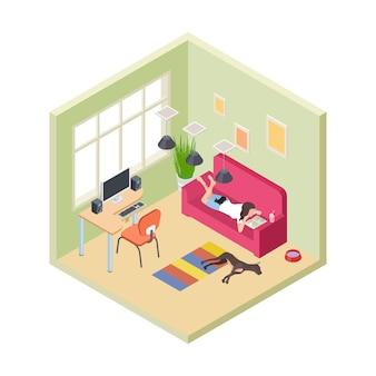 Tempo relaxe. livro de leitura do sofá relaxante da menina. interior isométrico da sala de estar. tempo de higiene com animais de estimação. mulher no sofá com livro e ilustração de lazer do cachorro