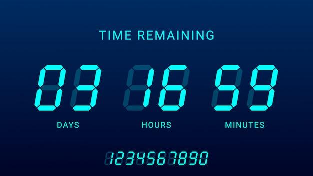 Tempo restante ilustração com temporizador de contagem regressiva do contador de relógio digital