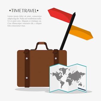 Tempo, viagem, poster, mala, mapa, mundo