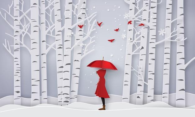 Temporada com a menina aberta vermelho um guarda-chuva, arte de papel e estilo artesanal.