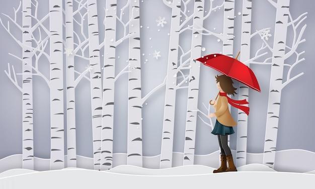 Temporada com a menina aberta vermelho um guarda-chuva,