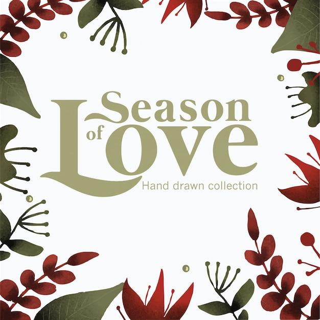 Temporada de amor-quadro mão desenhada coleção
