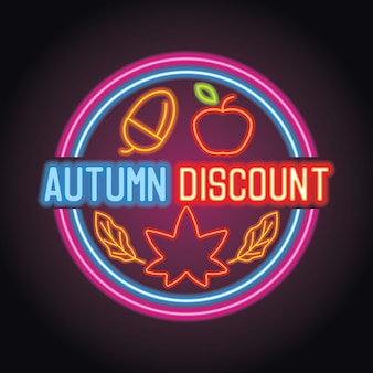 Temporada de desconto de outono com efeito de luz de néon