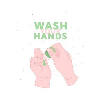 Temporada de gripe, lave o cartaz da mão. higiene das mãos, imprima com citação, lave a mão. ilustração de mãos limpas. ícone de desinfetante.