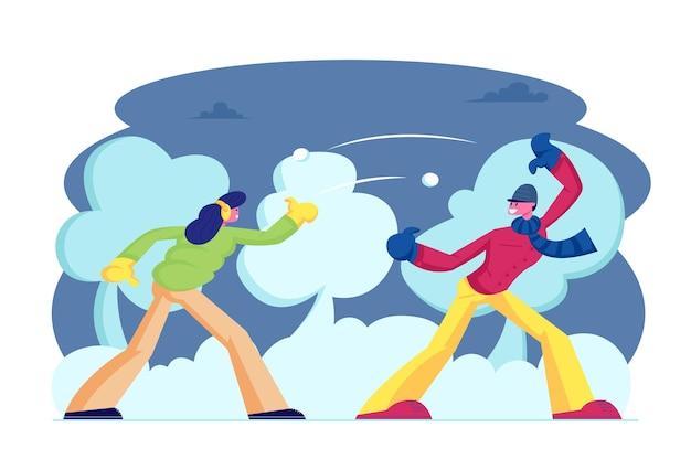 Temporada de inverno ao ar livre. lazer e atividades. ilustração plana dos desenhos animados