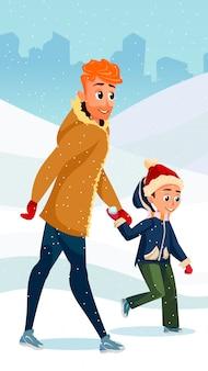 Temporada de inverno divertido desenho animado pai filho juntos
