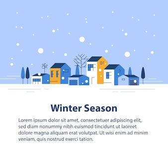 Temporada de inverno em cidade pequena, vista da pequena vila, céu com neve, fileira de casas residenciais, belo bairro, desenvolvimento imobiliário, ilustração de design plano