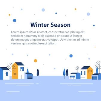Temporada de inverno em cidade pequena, vista de uma pequena vila, céu com neve, fileira de casas residenciais