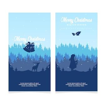 Temporada de inverno feliz natal e feliz ano novo desenho silhueta banner ilustração vetorial