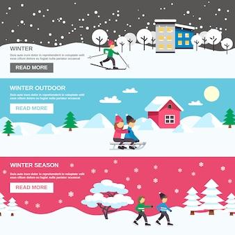 Temporada de inverno plana banners set