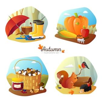 Temporada de outono 4 ícones quadrado cartaz com colheita de campo