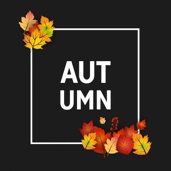 Temporada de outono com design criativo e vetor de fundo escuro