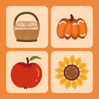Temporada de outono conjunto de ícones de cartões