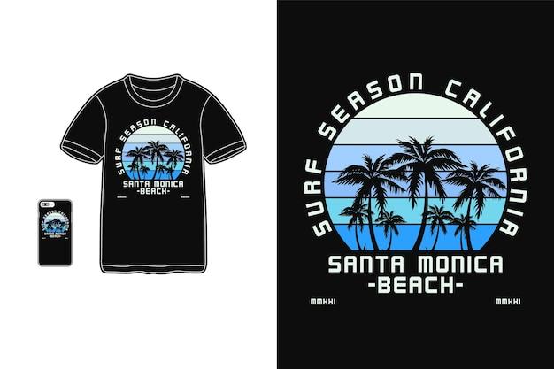 Temporada de surf na califórnia, tipografia de maquete de silhueta de mercadoria de camiseta