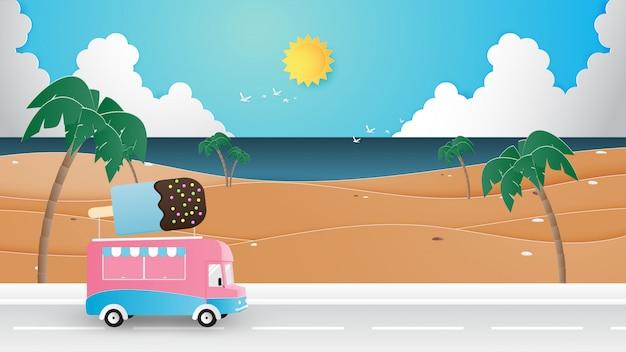 Temporada de verão, férias, estilo de corte de papel de conceito de viagens.
