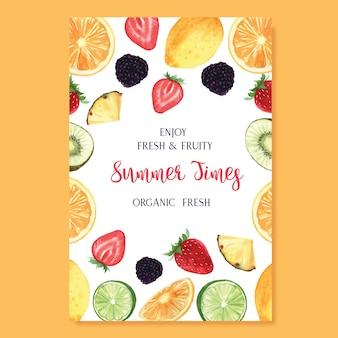 Temporada de verão frutas tropicais cartaz, maracujá, abacaxi, frutado fresco e saboroso