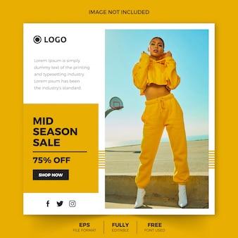 Temporada moda venda instagram post modelo ou folheto quadrado