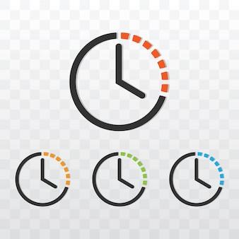 Temporizador de relógio com ilustração vetorial de cores diferentes em fundo transparente.
