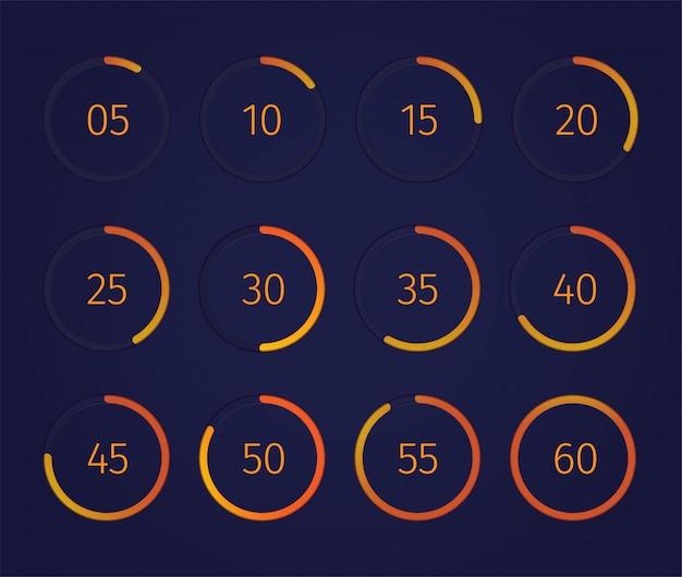 Temporizador de relógio digital definido com símbolos de tecnologia moderna realista isolado