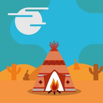 Tenda da barraca do nativo americano e cacto da fogueira