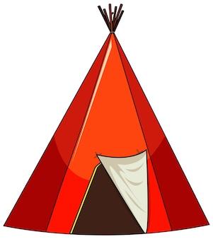 Tenda de acampamento isolada em fundo branco