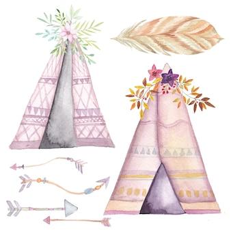 Tenda de aquarela, setas étnicas e conjunto de flores