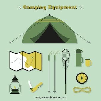 Tenda de campismo plano com objetos de aventura