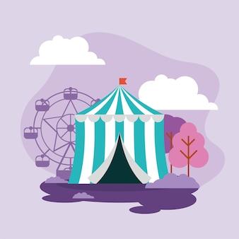 Tenda de carnaval e parque de diversões