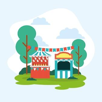 Tenda de circo ao ar livre e quiosque para venda de ingressos